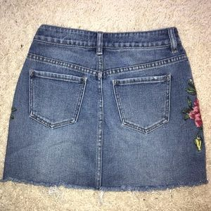 PacSun Skirts - jean skirt w/ flowers on the sides from pacsun!!